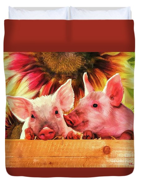 Piglet Playmates Duvet Cover
