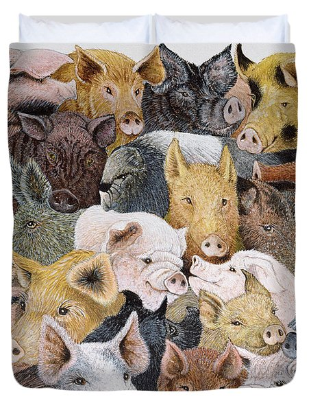 Pigs Galore Duvet Cover by Pat Scott
