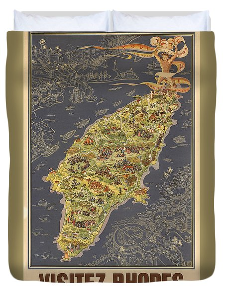 Piictorial Map Of The Island Of Rhodes - Rose Island - Island Of The Sun - Antique Map Duvet Cover
