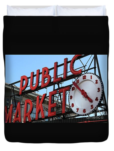 Duvet Cover featuring the photograph Pike Street Market Clock by Peter Simmons