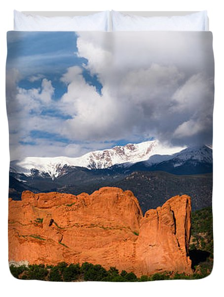 Pikes Peak And Garden Of The Gods Panoramic Duvet Cover