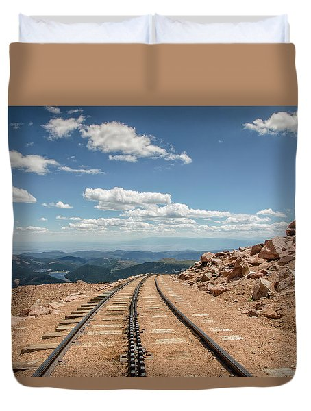 Pikes Peak Cog Railway Track At 14,110 Feet Duvet Cover