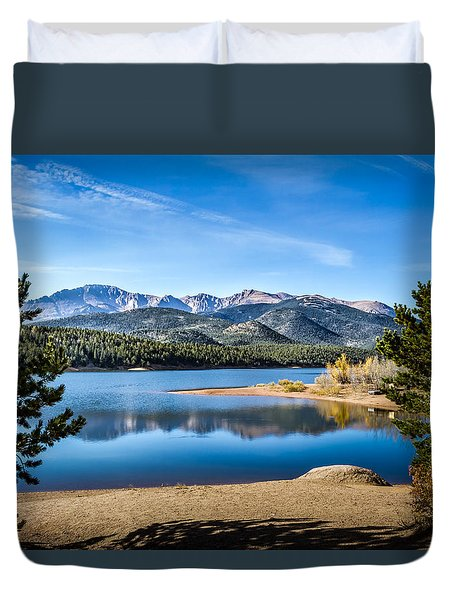 Pikes Peak Over Crystal Lake Duvet Cover