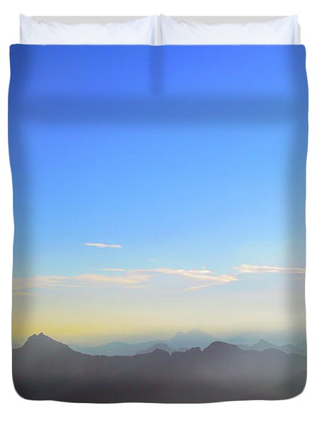 Pilchuck And Three Sisters Sunrise Duvet Cover