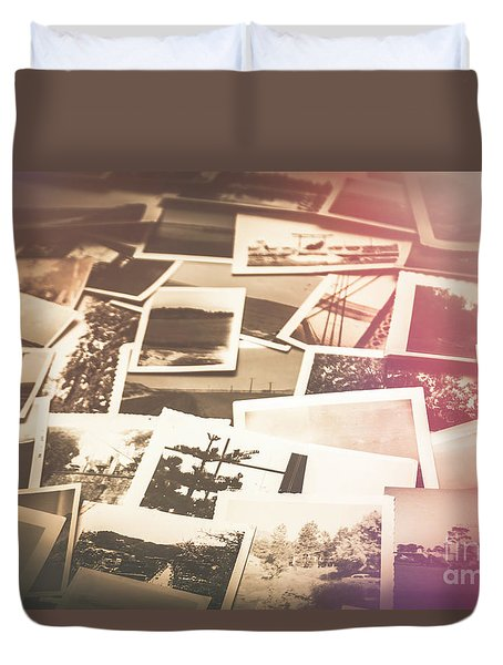 Pile Of Old Scattered Photos Duvet Cover