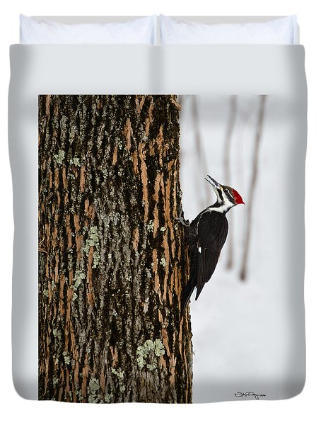Duvet Cover featuring the photograph Pileated Woodpecker by Skip Tribby