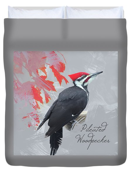 Duvet Cover featuring the photograph Pileated Woodpecker Watercolor Photo by Heidi Hermes