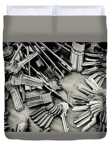 Piles Of Blank Keys In Monochrome Duvet Cover