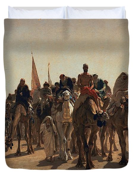 Pilgrims Going To Mecca Duvet Cover by Leon Auguste Adolphe Belly