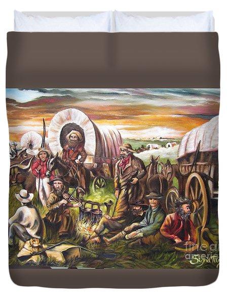 American    History  Pilgrims On The Plain Duvet Cover