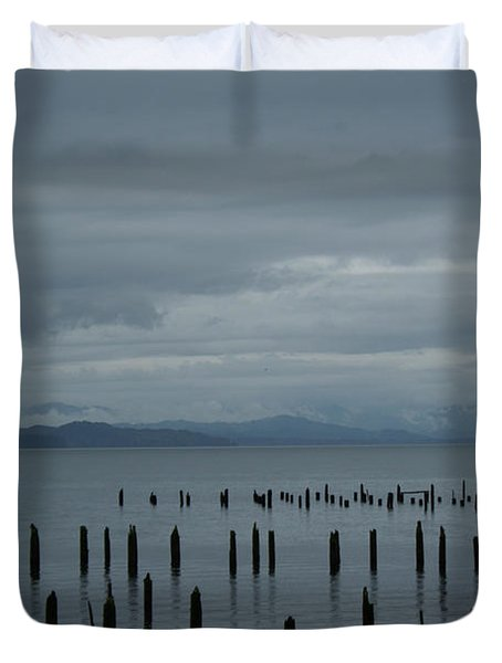 Pilings On Columbia River Duvet Cover