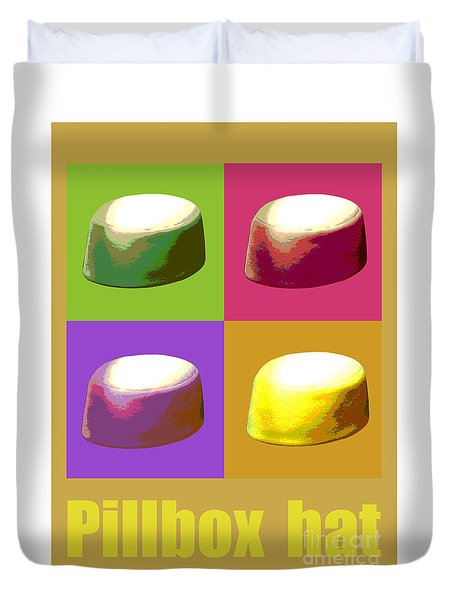 Duvet Cover featuring the digital art Pillbox Hat by Jean luc Comperat