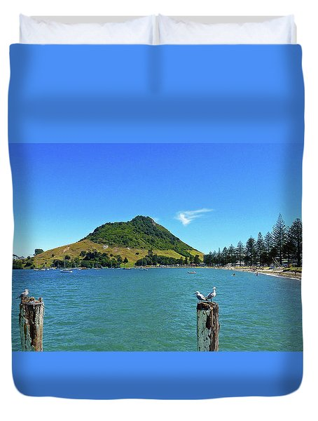 Pilot Bay Beach 2 - Mount Maunganui Tauranga New Zealand Duvet Cover