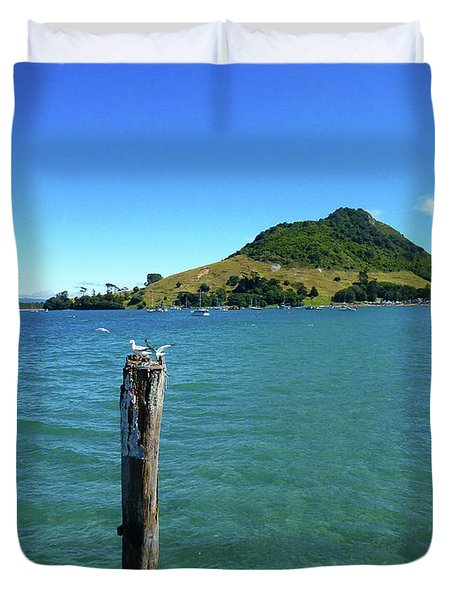 Pilot Bay Beach 3 - Mt Maunganui Tauranga New Zealand Duvet Cover