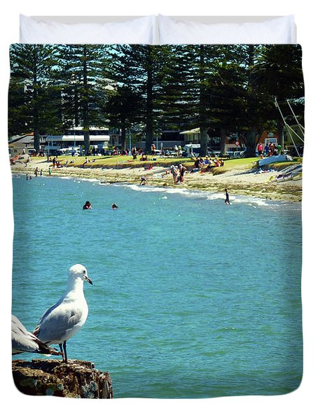 Pilot Bay Beach 4 - Mount Maunganui Tauranga New Zealand Duvet Cover