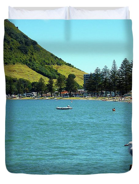 Pilot Bay Beach 5 - Mt Maunganui Tauranga New Zealand Duvet Cover