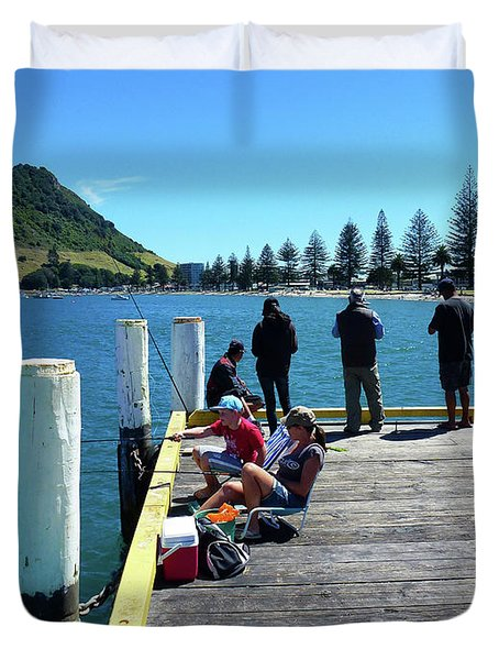 Pilot Bay Beach 7 - Mt Maunganui Tauranga New Zealand Duvet Cover