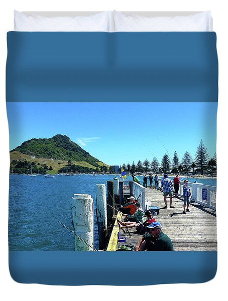 Pilot Bay Beach 8 - Mount Maunganui Tauranga New Zealand Duvet Cover