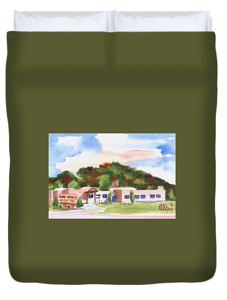 Duvet Cover featuring the painting Pilot Knob Mountain W401  by Kip DeVore