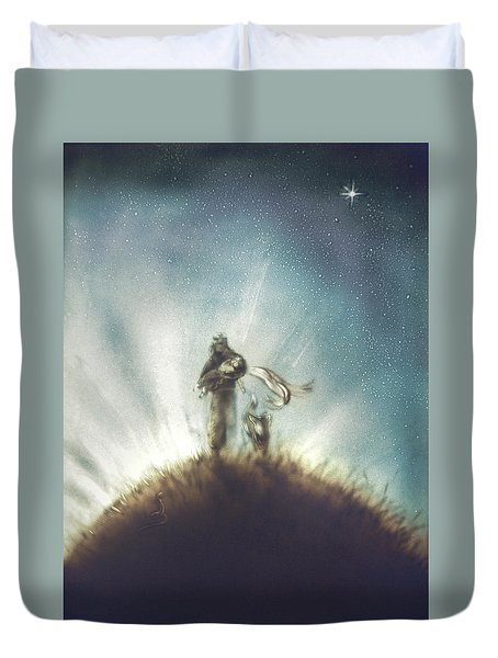 Pilot, Little Prince And Fox Duvet Cover