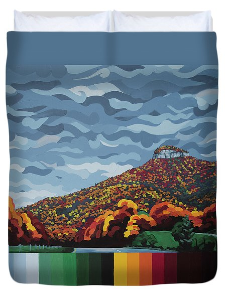Pilot Mountain Fall Duvet Cover