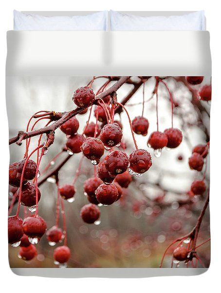 Pin Cherries And Raindrops Duvet Cover