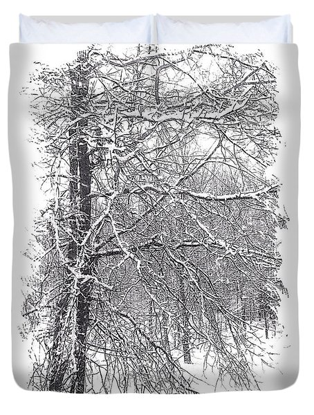 Duvet Cover featuring the digital art Pin Oak In Snow by Kathy Kelly
