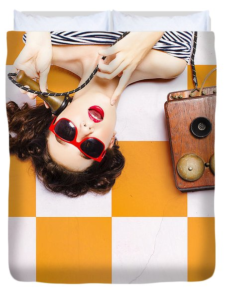 Duvet Cover featuring the photograph Pin-up Beauty Decision Making On Old Phone by Jorgo Photography - Wall Art Gallery