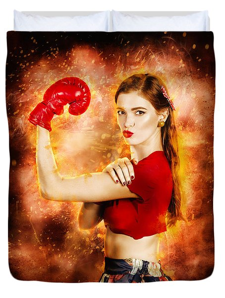 Pin Up Boxing Girl  Duvet Cover