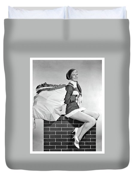 Pin-up Elf Girl On Chimney Duvet Cover