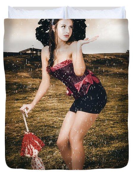 Pin Up Girl Standing In Field Under Summer Rain Duvet Cover