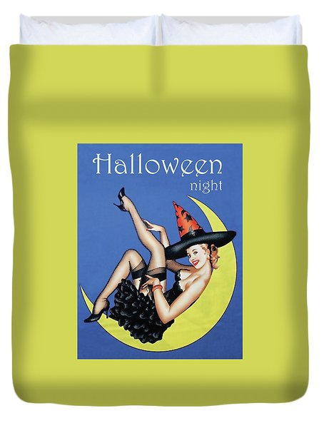 Pin Up Witch On Moon Duvet Cover