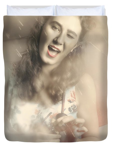 Pin-up Woman Dancing In A Shower Of Rain Duvet Cover