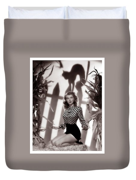 Pin Up Woman Posing With Black Cat Shadow Duvet Cover