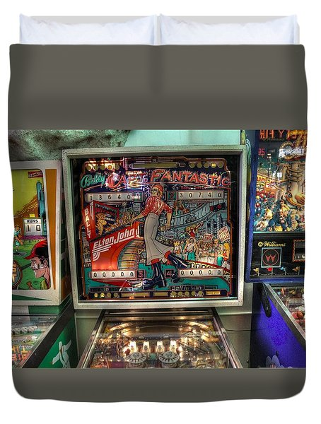 Pinball Elton John Bally Duvet Cover by Jane Linders
