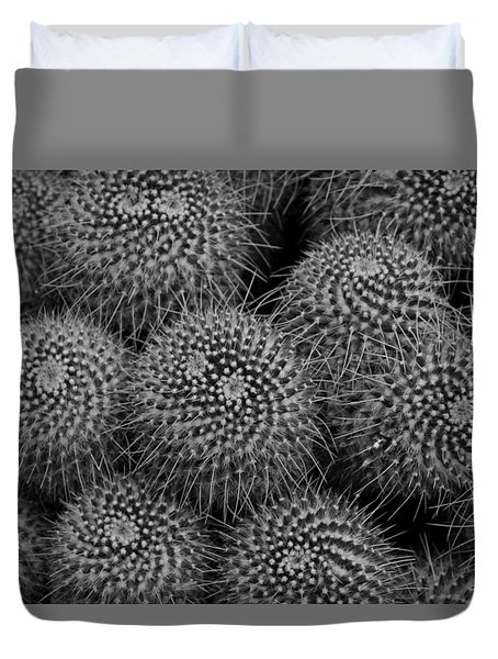 Pincushion Cactus In Black And White Duvet Cover by Michiale Schneider