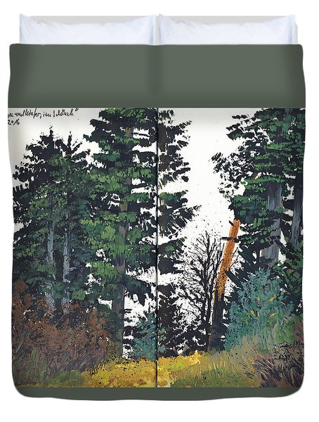 Pine And Fir Tree Forest Duvet Cover