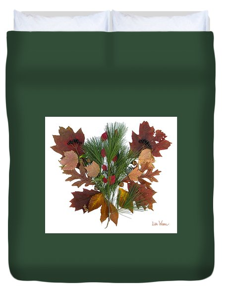Pine And Leaf Bouquet Duvet Cover by Lise Winne