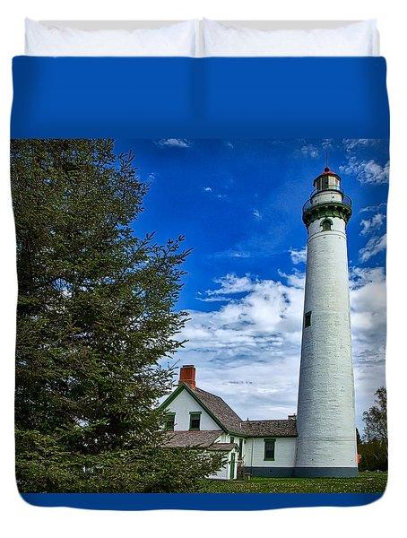 Pine At New Presque Isle Light Duvet Cover