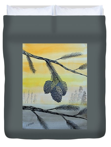 Duvet Cover featuring the painting Pine Cones by Jack G  Brauer