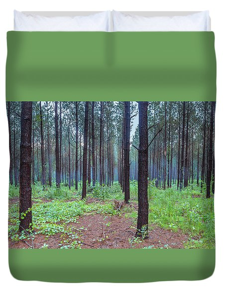 Duvet Cover featuring the photograph Pine Grove And Fog In Charlotte Nc Panorama by Ranjay Mitra