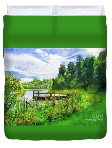 Pine Lake Pier Duvet Cover