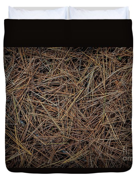 Duvet Cover featuring the photograph Pine Needles On Forest Floor by Elena Elisseeva