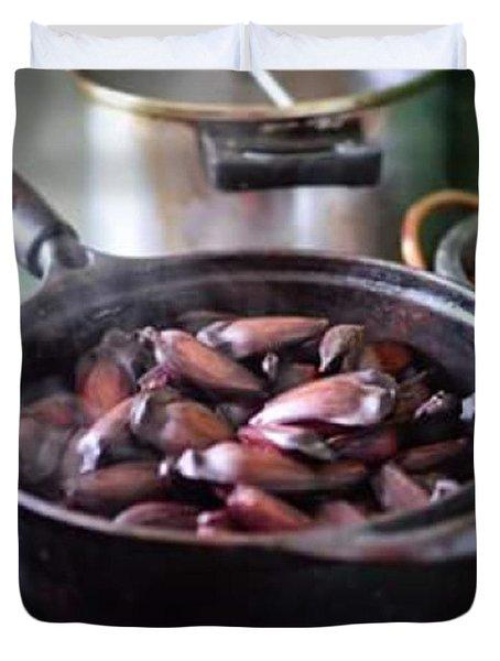Pine Nut For Breakfast In Cunha City Duvet Cover