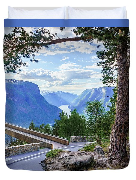 Duvet Cover featuring the photograph Pine On Stegastein by Dmytro Korol