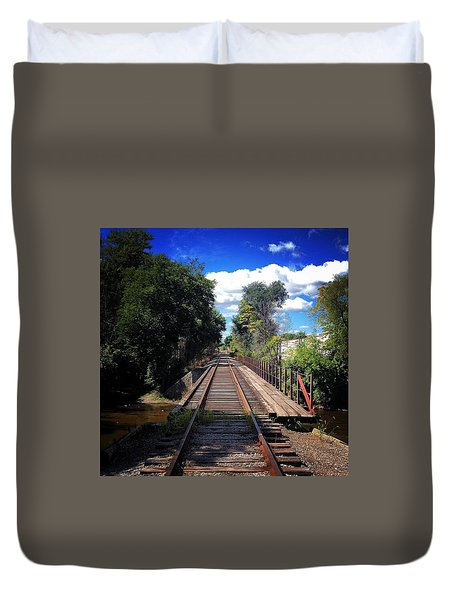 Pine River Railroad Bridge Duvet Cover