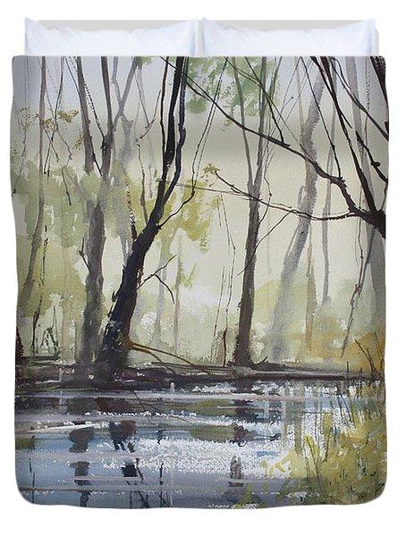 Pine River Reflections Duvet Cover by Ryan Radke