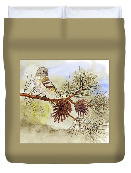 Pine Siskin Among The Pinecones Duvet Cover