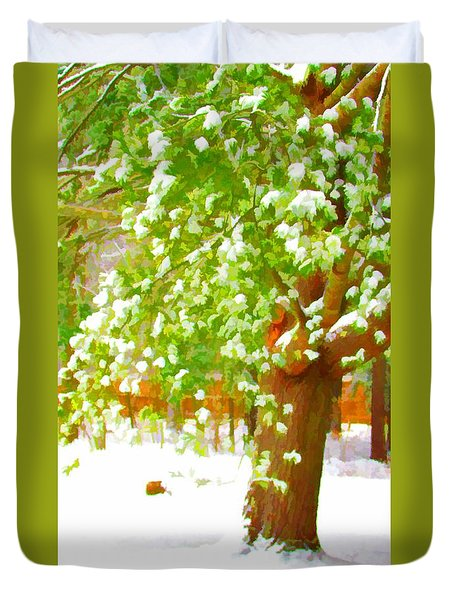 Pine Tree Covered With Snow 1 Duvet Cover by Lanjee Chee