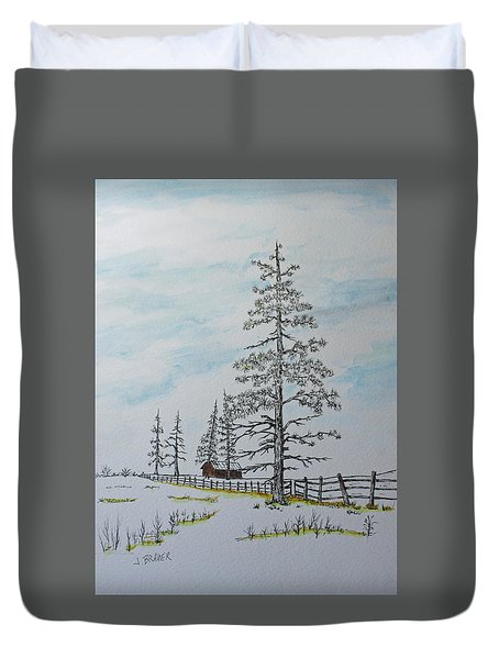 Duvet Cover featuring the painting Pine Tree Gate by Jack G  Brauer